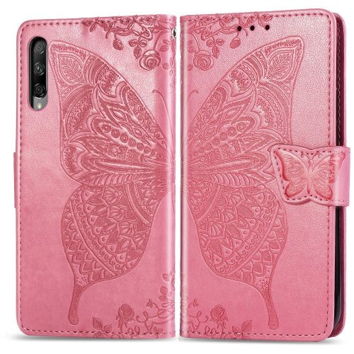 Butterfly Love Flowers Embossing Horizontal Flip Leather Case for  Honor 9X Pro  with Holder & Card Slots & Wallet & Lanyard(Pink)