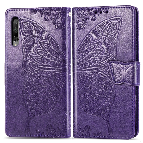 Butterfly Love Flowers Embossing Horizontal Flip Leather Case for   Honor 9X Pro  with Holder & Card Slots & Wallet & Lanyard(Dark Purple)