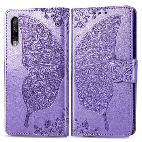 Butterfly Love Flowers Embossing Horizontal Flip Leather Case for  Honor 9X Pro  with Holder & Card Slots & Wallet & Lanyard(Light Purple)