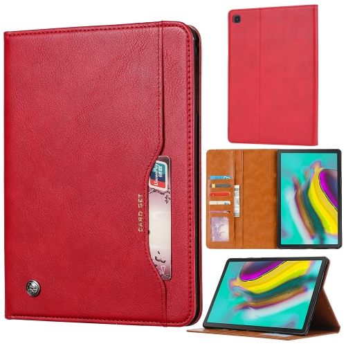 Knead Skin Texture Horizontal Flip Leather Case for Galaxy Tab A 8.0 (2019) T290 / T295, with Photo Frame & Holder & Card Slots & Wallet(Red)