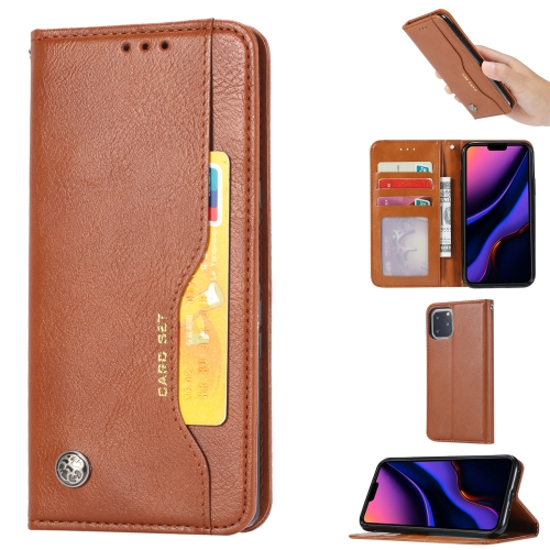 Knead Skin Texture Horizontal Flip Leather Case for iPhone 11 Pro Max , with Photo Frame & Holder & Card Slots & Wallet(Brown)