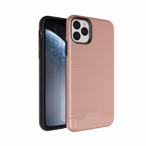 Ultra-thin TPU+PC Brushed Texture Shockproof Protective Case for iPhone 11 Pro Max , with Holder & Card Slot(Rose gold)