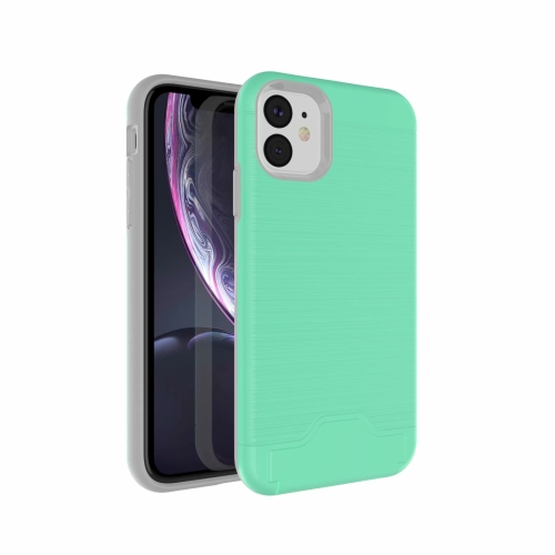 Ultra-thin TPU+PC Brushed Texture Shockproof Protective Case for iPhone 11, with Holder & Card Slot(Green) фото