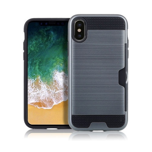 Ultra-thin TPU+PC Brushed Texture Shockproof Protective Case with Card Slot for iPhone X / XS(Navy blue)