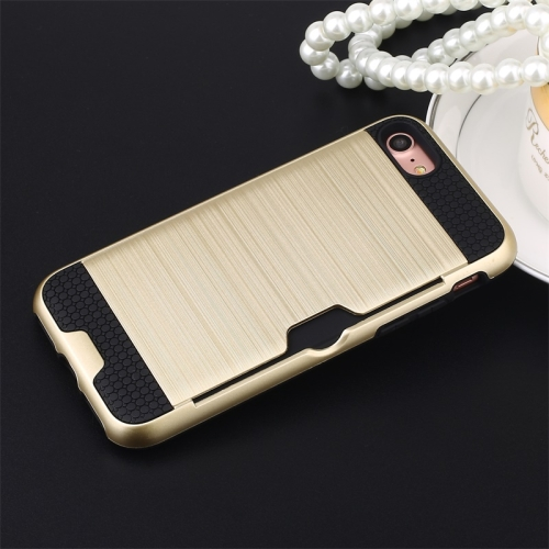 Ultra-thin TPU+PC Brushed Texture Shockproof Protective Case with Card Slot for iPhone 7 / 8(Gold)
