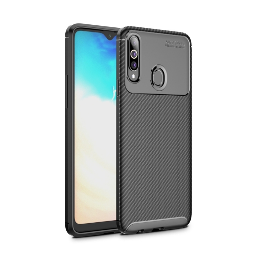 Beetle Series Carbon Fiber Texture Shockproof TPU Case for Galaxy A20s(Black)