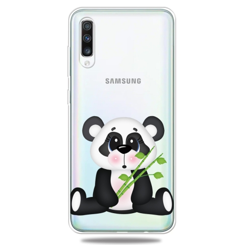 For Galaxy A50 3D Pattern Printing Extremely Transparent TPU Phone Case(Bamboo Bear)