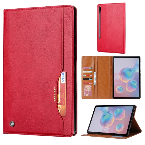 For Galaxy Tab S6 / T860 /T865 Knead Skin Texture Horizontal Flip Leather Case with Photo Frame & Holder & Card Slots & Wallet(Red) фото
