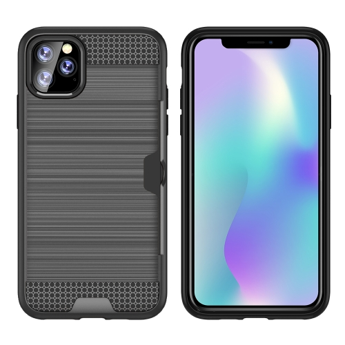 For iPhone 11 Pro Max Ultra-thin TPU+PC Brushed Texture Shockproof Protective Case with Card Slot(Grey)
