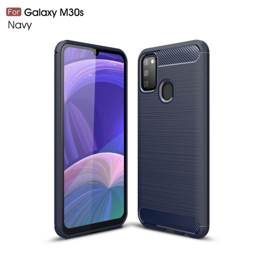 For Galaxy M30s Brushed Texture Carbon Fiber TPU Case(Navy Blue)