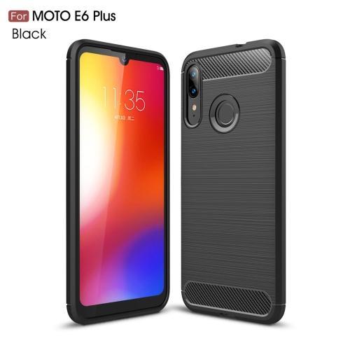 For Moto E6 Plus Brushed Texture Carbon Fiber TPU Case(Black)