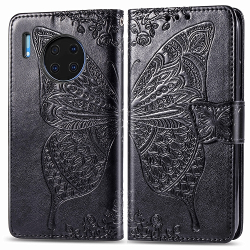 For Huawei Mate 30 Pro   Butterfly Love Flower Embossed Horizontal Flip Leather Case with Bracket / Card Slot / Wallet / Lanyard(Black)