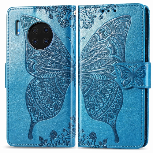 For Huawei Mate 30 Pro   Butterfly Love Flower Embossed Horizontal Flip Leather Case with Bracket / Card Slot / Wallet / Lanyard(Blue)