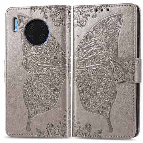 For Huawei Mate 30 Pro   Butterfly Love Flower Embossed Horizontal Flip Leather Case with Bracket / Card Slot / Wallet / Lanyard(Gray)