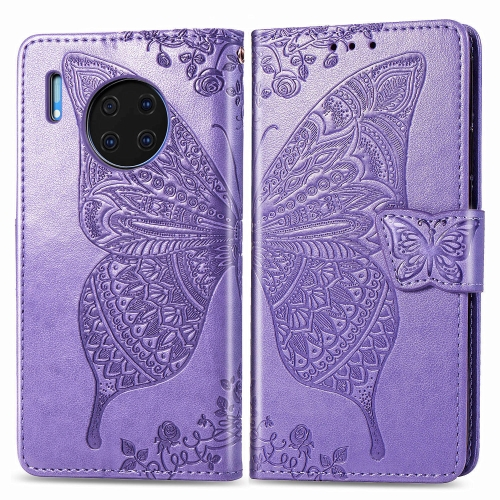 For Huawei Mate 30 Pro   Butterfly Love Flower Embossed Horizontal Flip Leather Case with Bracket / Card Slot / Wallet / Lanyard(Light purple)