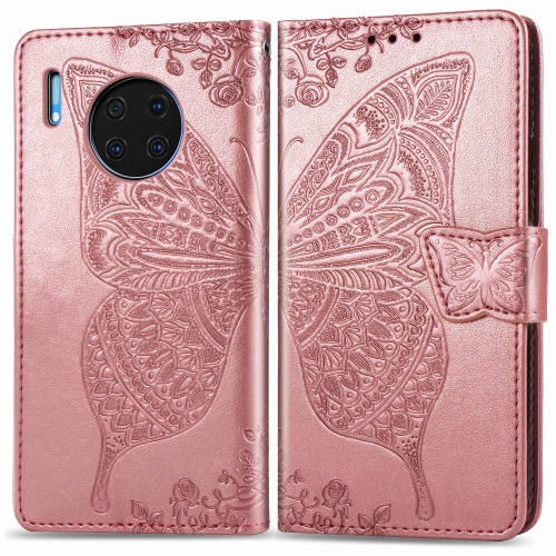 For Huawei Mate 30 Pro   Butterfly Love Flower Embossed Horizontal Flip Leather Case with Bracket / Card Slot / Wallet / Lanyard(Rose gold)