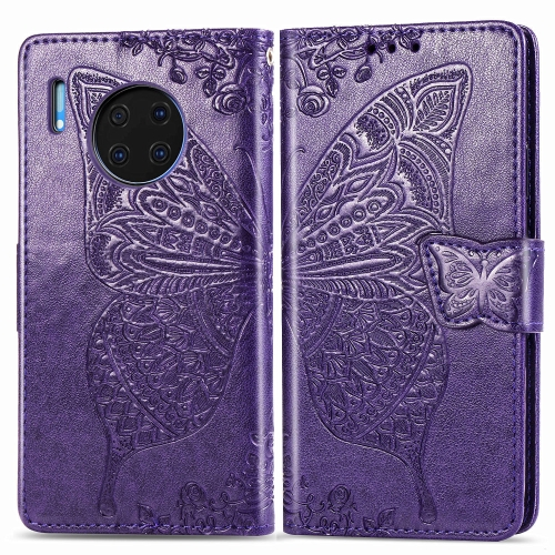 For Huawei Mate 30 Pro   Butterfly Love Flower Embossed Horizontal Flip Leather Case with Bracket / Card Slot / Wallet / Lanyard(Dark purple)