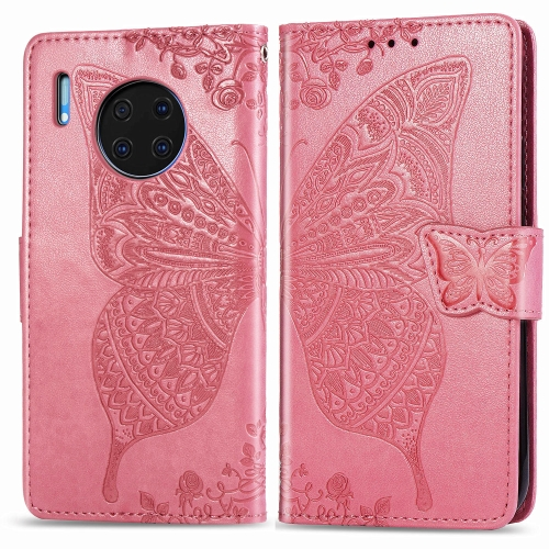 For Huawei Mate 30 Pro   Butterfly Love Flower Embossed Horizontal Flip Leather Case with Bracket / Card Slot / Wallet / Lanyard(Pink)