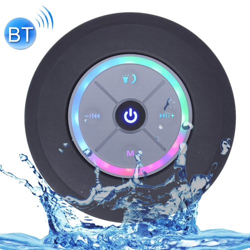 BTS-08 Wireless Bluetooth Speaker Waterproof Led FM Radio Subwoofer Bluetooth Column TF Card Suction Cup Mini Shower Speaker(Black)
