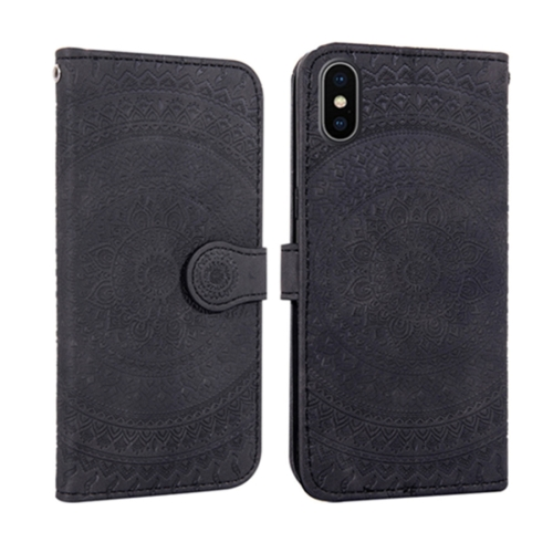 For iPhone X / XS Pressed Printing Pattern Horizontal Flip PU Leather Case , with Holder & Card Slots & Wallet && Lanyard(Black)