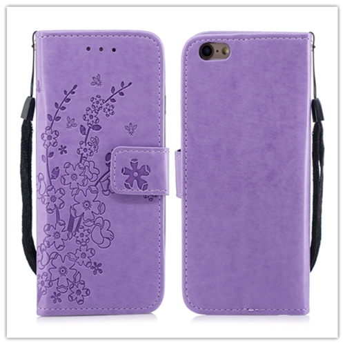 For iPhone 11 Plum blossom Pattern Leather Case with Holder & Card Slots(Plum Purple)