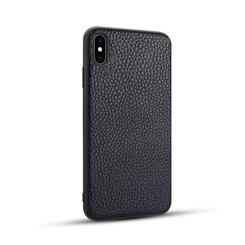 For iPhone XS Max   Litchi PU Leather Anti-falling TPU Protective Case(Deep Blue)