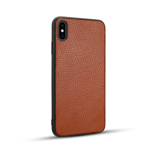 For iPhone XS Max   Litchi PU Leather Anti-falling TPU Protective Case(Brown)