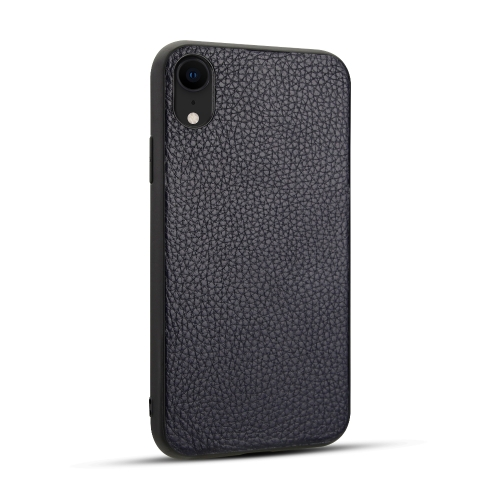 For iPhone XR   Litchi PU Leather Anti-falling TPU Protective Case(Deep Blue)
