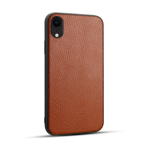 For iPhone XR   Litchi PU Leather Anti-falling TPU Protective Case(Brown)
