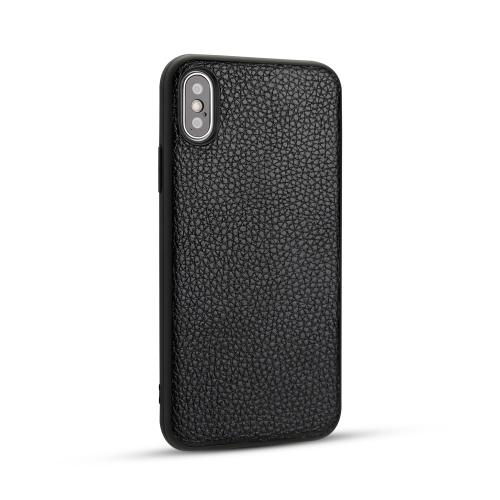 For IPhone X / Xs   Litchi PU Leather Anti-falling TPU Protective Case(Black)