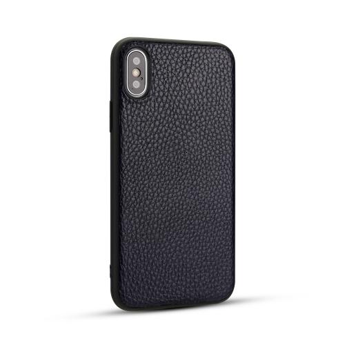 For IPhone X / Xs   Litchi PU Leather Anti-falling TPU Protective Case(Deep blue)