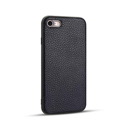 For iPhone SE 2020 / 8 / 7   Litchi PU Leather Anti-falling TPU Protective Case(Dark Blue)