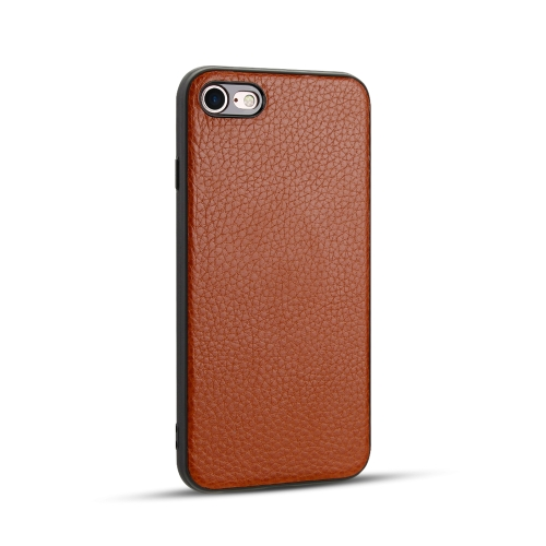 For iPhone SE 2020 / 8 / 7   Litchi PU Leather Anti-falling TPU Protective Case(Brown)