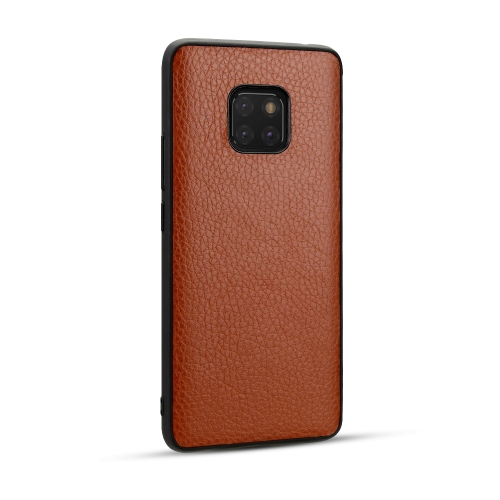 For Huawei Mate20 Pro - Lychee Grain Cortex Anti-falling TPU Mobile Phone Shell Protective Case(Brown)