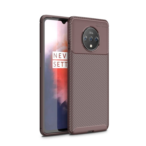 For One Plus 7T - Carbon Fiber Texture Shockproof TPU Case(Brown)