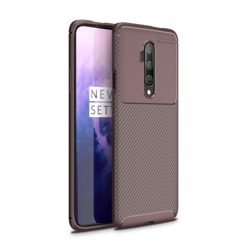 For One Plus 7T Pro - Carbon Fiber Texture Shockproof TPU Case(Brown)