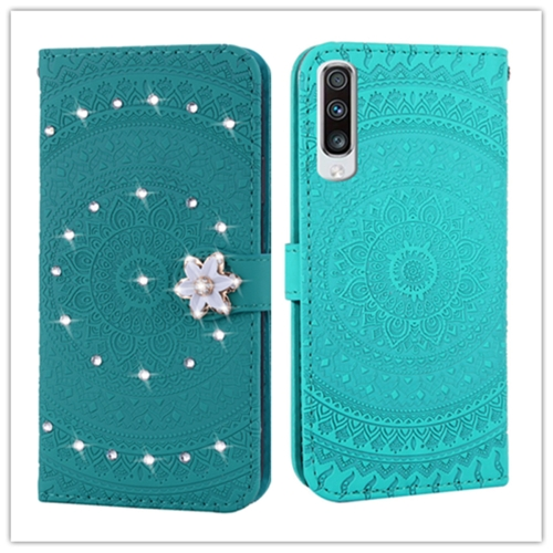 For Galaxy A50 Pressed Printing Sticking Drill Pattern Horizontal Flip PU Leather Case with Holder & Card Slots & Wallet && Lanyard(Grass Green)