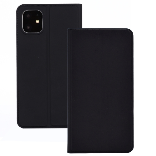 For iPhone 11 Ultra-thin Voltage Plain Magnetic Suction Card TPU+PU Mobile Phone Jacket with Chuck and Bracket(Black)