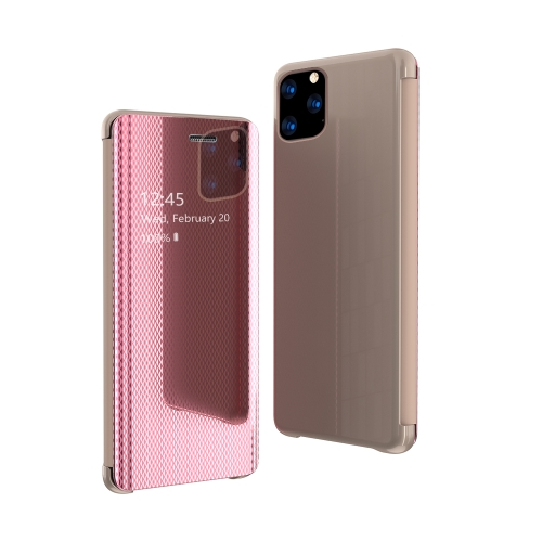 For iPhone 11 Ultra-Thin Light Weight Grid Plated Mirror Phone Case(Rose Gold)