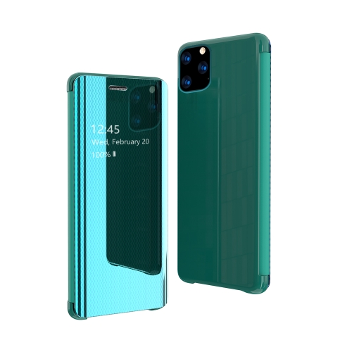 For iPhone 11 Pro Max Ultra-Thin Light Weight Grid Plated Mirror Phone Case(Green)