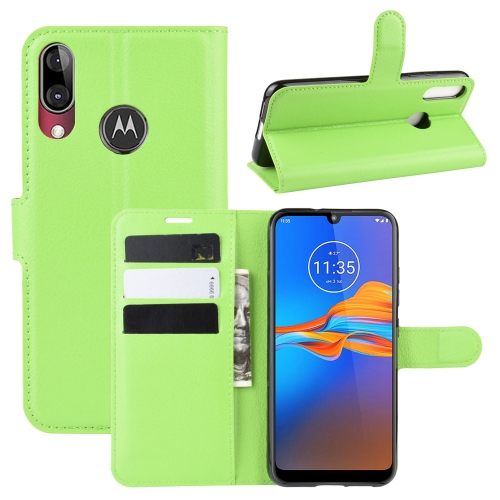 For MOTO E6 Plus Litchi Texture Horizontal Flip Leather Case with Wallet & Holder & Card Slots(Green)