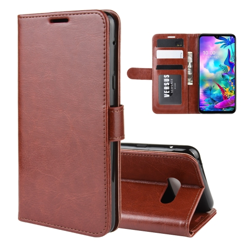 For LG G8X ThinQ R64 Texture Single Fold Horizontal Flip Leather Case with Holder & Card Slots & Wallet(Brown)