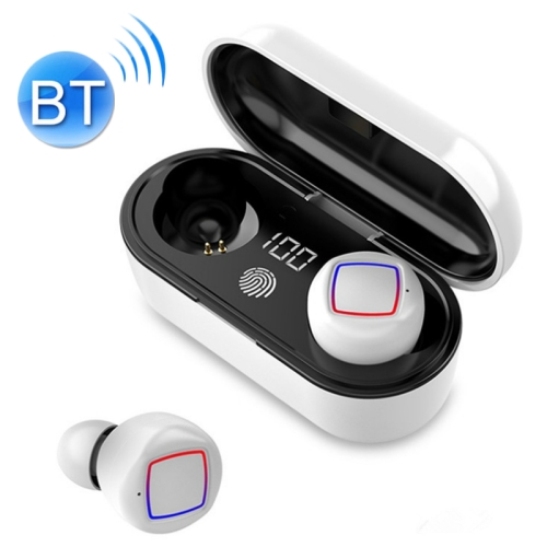 TWS Fingerprint Touch Bluetooth Headset LED Battery Display With Charging Bin(White)
