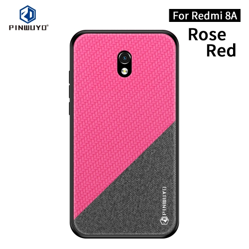 For Xiaomi RedMi 8A PINWUYO Rong Series Shockproof PC + TPU+ Chemical Fiber Cloth Protective Cover(Red)