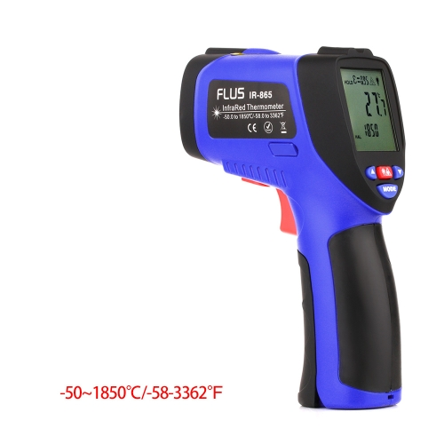 FLUS IR-865 -50~1850℃- Digital Infrared Non-contact Laser Handheld Portable Electronic Outdoor Thermometer Pyrometer