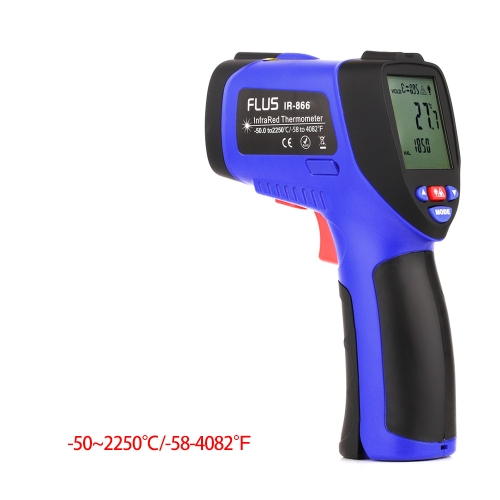 FLUS IR-866 -50~2250℃ Digital Infrared Non-contact Laser Handheld Portable Electronic Outdoor Thermometer Pyrometer