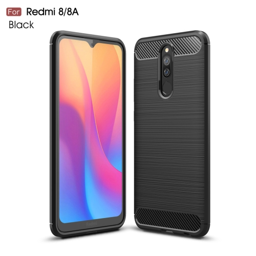 For Xiaomi Redmi 8 Brushed Texture Carbon Fiber TPU Case(Black)