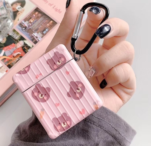For Apple AirPods 1/2 Generation Universal Pink Bear Bluetooth Headphone Protective Case(More Than A Bear)