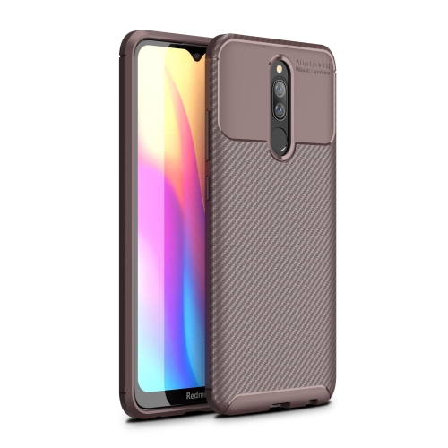 For Xiaomi Redmi 8A Carbon Fiber Texture Shockproof TPU Case(Brown)