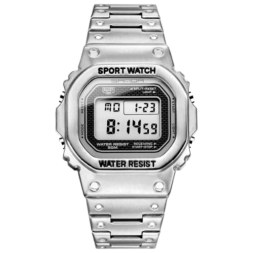 SANDA 390 Fashion Trend Men Business Watch Outdoor Sports Personality Square Digital Electronic Watch(Silver)